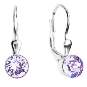 Stříbrné náušnice visací s krystaly fialové kulaté 31112.3 violet 31112.3