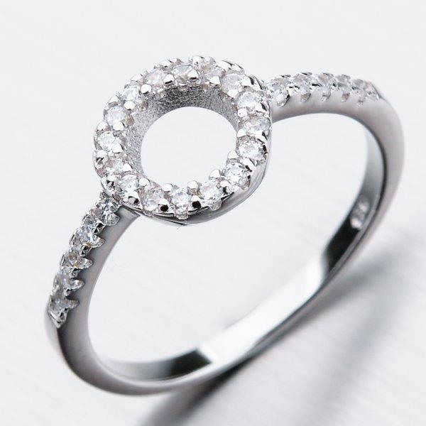 Stříbrný prsten se zirkony GST-11270