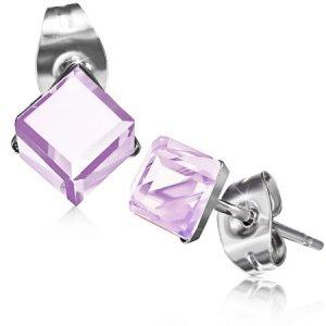 Náušnice s růžovým krystalkem GXRY352