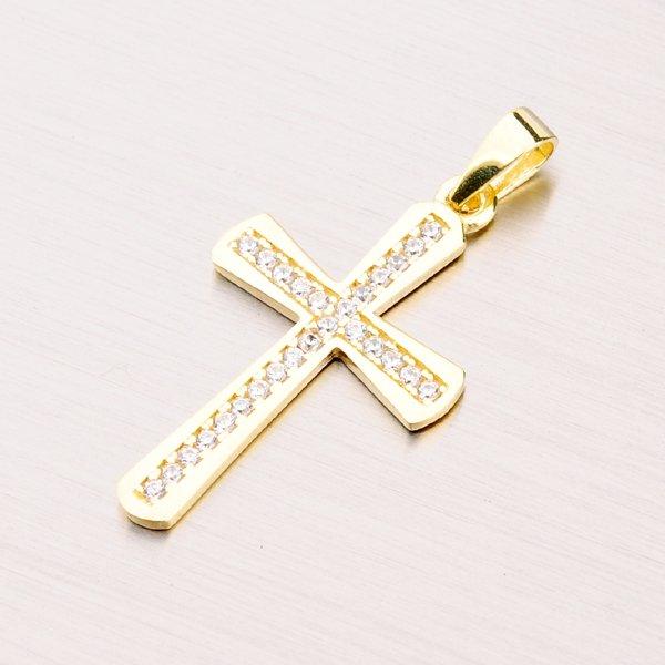 Zlatý kříž se zirkony 43-21627