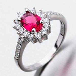 Stříbrný prsten s rubínem a zirkony GST-11266