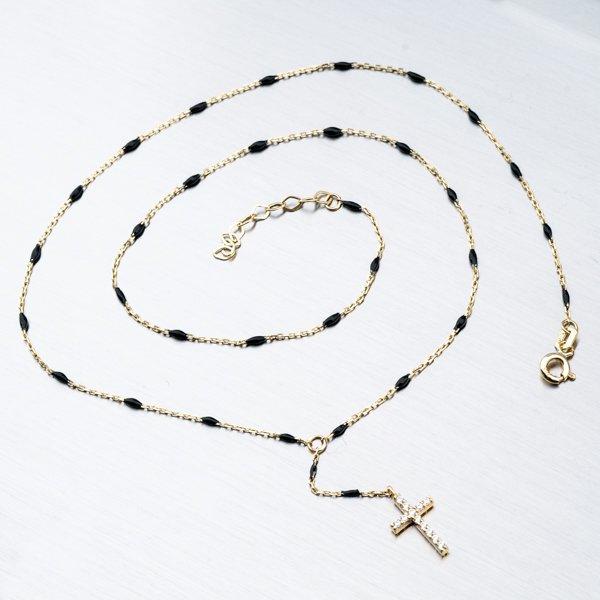 Zlatý řetízek s křížkem a zirkony 45-1891