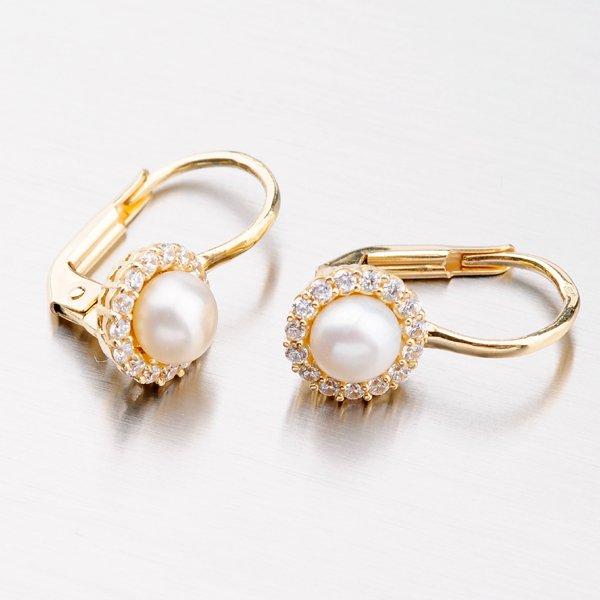 Zlaté perlové náušnice 12-559