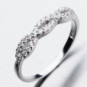 Stříbrný prsten se zirkony GST-11276