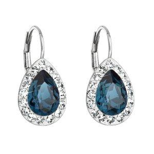 Stříbrné náušnice visací s krystaly Swarovski modrá slza 31242.3 31242.3