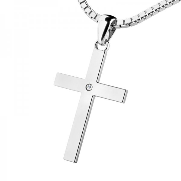Zlatý kříž s diamantem 10947-B-DIA