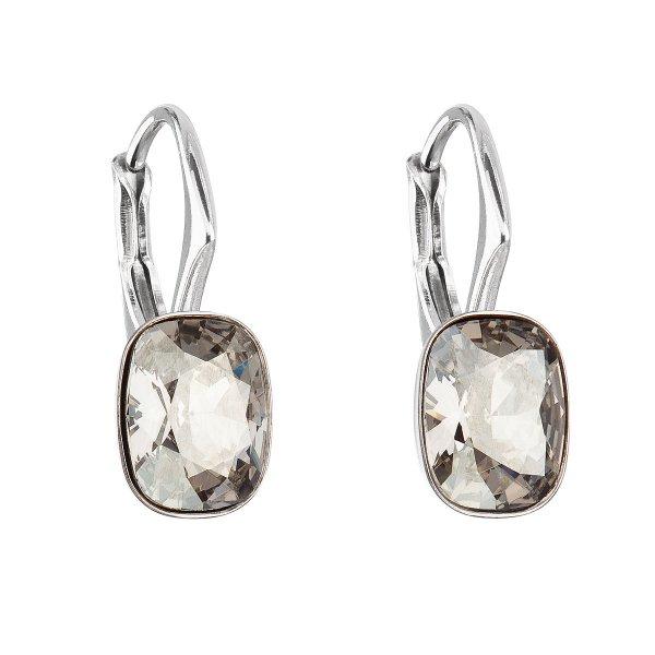 Stříbrné náušnice visací s krystaly Swarovski šedý obdélník 31278.5 31278.5