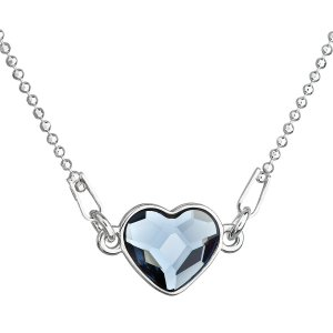Stříbrný náhrdelník s krystalem Swarovski modré srdce 32061.3 32061.3