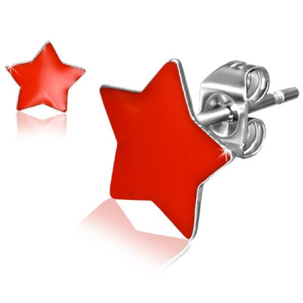 Náušnice - červené hvězdičky GJES303