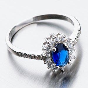 Stříbrný prsten se safírem a zirkony GST-11267