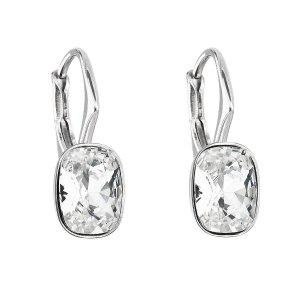 Stříbrné náušnice visací s krystaly Swarovski bílý obdélník 31278.1 31278.1