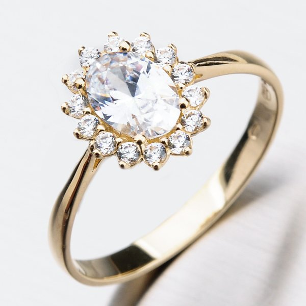 Zlatý prsten se zirkony 11-275