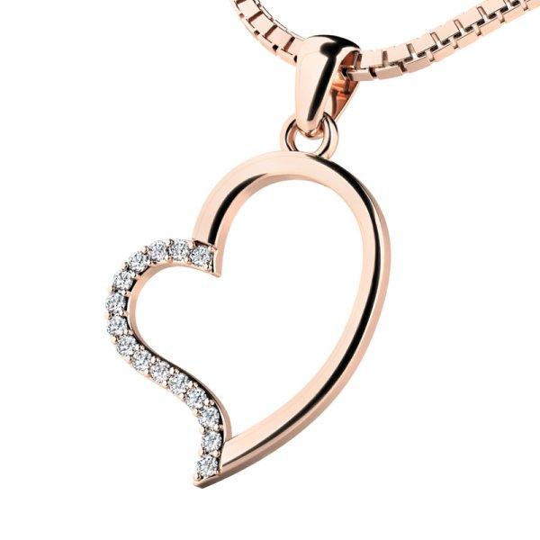 Srdce z růžového zlata s diamanty 10948-CV-DIA