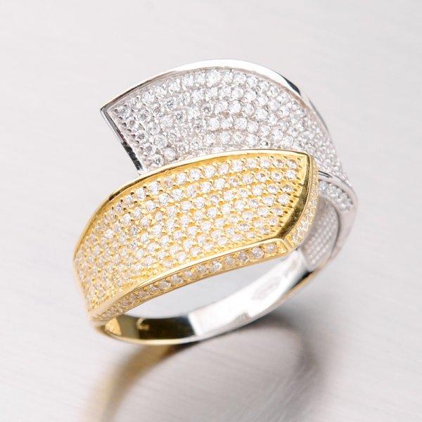 Zlatý prsten se zirkony 41-NR131