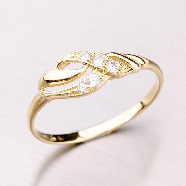 Zlatý prsten se zirkony 41-NL03