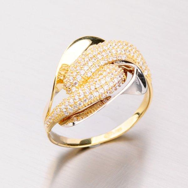 Zlatý prsten se zirkony 41-NY74