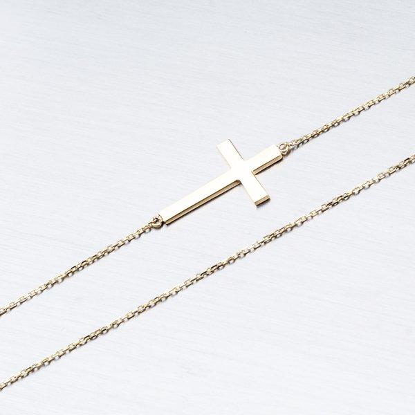 Zlatý řetízek s ležatým křížem 45-1907