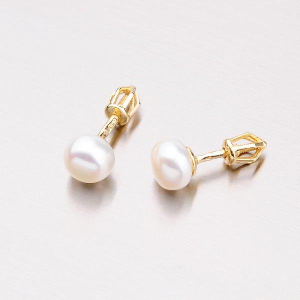 Zlaté perlové náušnice pecky 42-31167