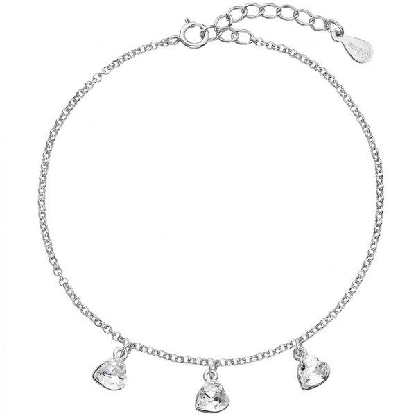 Stříbrný náramek se Swarovski krystaly bílé srdce 33108.1 33108.1
