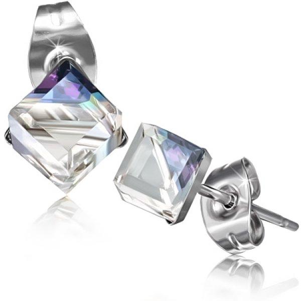 Náušnice s fialovým krystalkem GXRY355