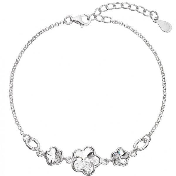 Stříbrný náramek se Swarovski krystaly bílá kytička 33112.1 33112.1