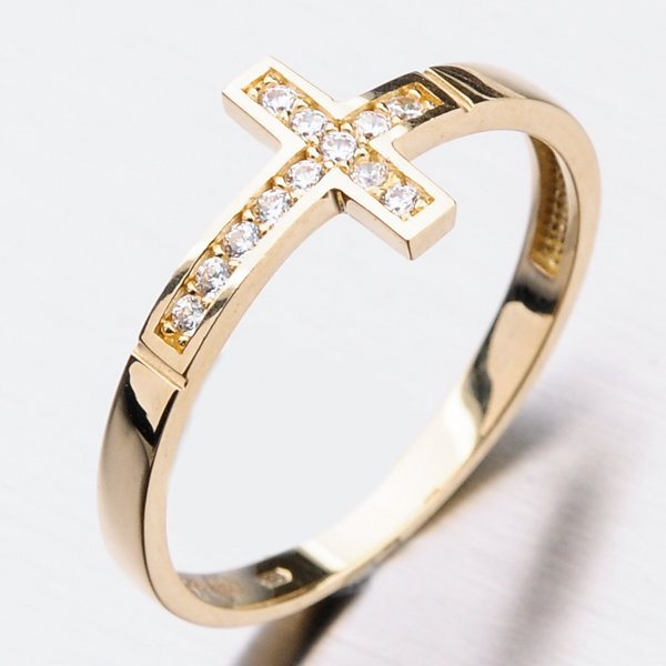Zlatý prsten se zirkony 11-270