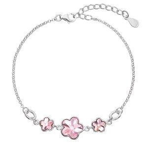 Stříbrný náramek se Swarovski krystaly růžová kytička 33112.3 light rose 33112.3