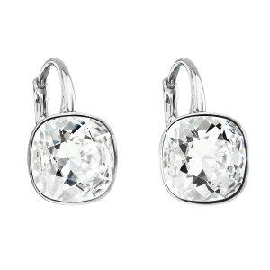 Stříbrné náušnice visací s krystaly Swarovski bílý čtverec 31241.1 31241.1