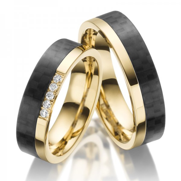 Ocelové snubní prsteny s karbonem SP-ES-024