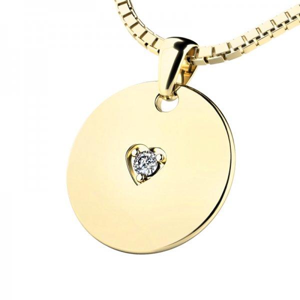 Kulatý medailonek s briliantem 10949-ZL-DIA