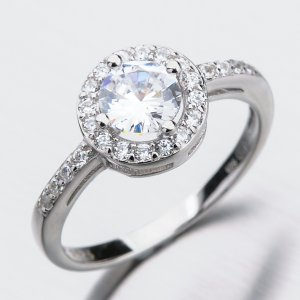 Stříbrný prsten se zirkony GST-11279