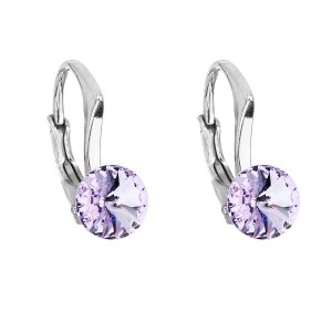 Stříbrné náušnice visací s krystaly Swarovski fialové kulaté 31230.3 violet 31230.3