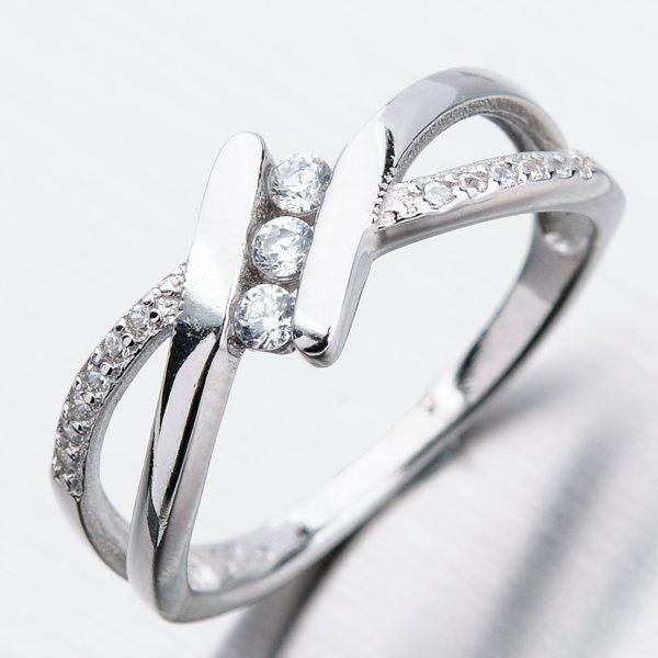 Stříbrný prsten se zirkony GST-11306