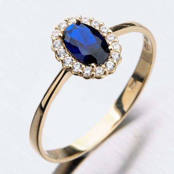 Zlatý prsten se safírem 11-266