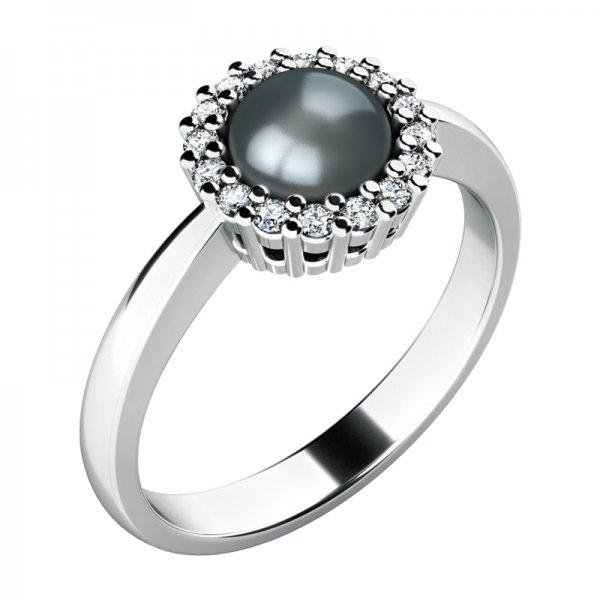 Prsten s černou perlou a diamanty 10928-B-FW-Black