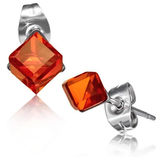 Náušnice s červeným krystalkem GXRY349