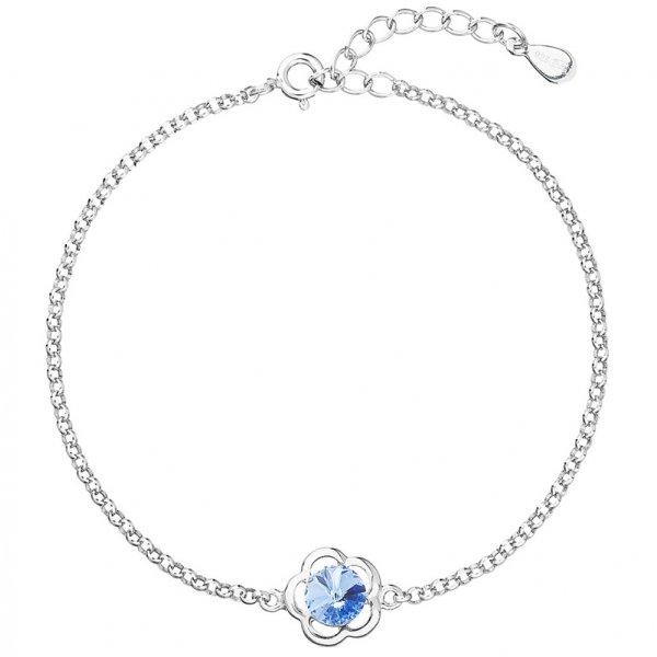 Stříbrný náramek se Swarovski krystaly modrá kytička 33117.3 33117.3