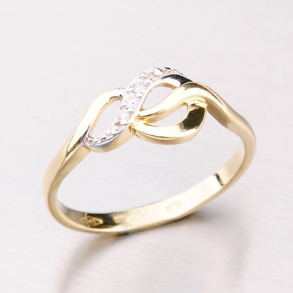 Zlatý prsten se zirkony 41-NF145