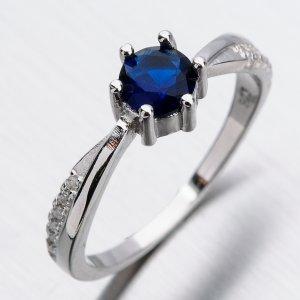 Stříbrný prsten se safírem a zirkony GST-11305