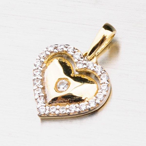 Zlaté srdce se zirkony 43-21501