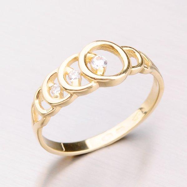 Zlatý prsten se zirkony 41-NF196