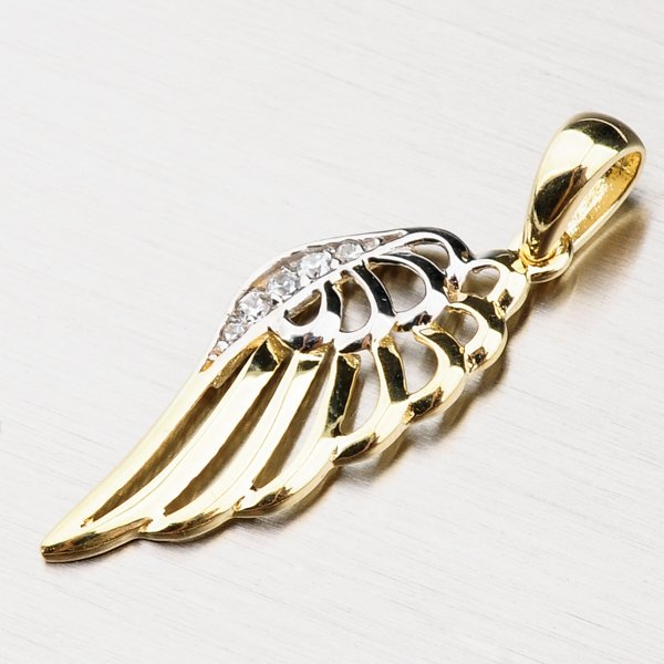 Zlatý přívěsek - andělské křídlo 43-21506