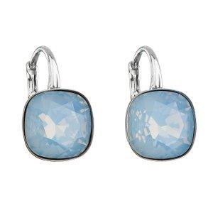 Stříbrné náušnice visací s krystaly Swarovski modrý čtverec 31241.7 blue opal 31241.7