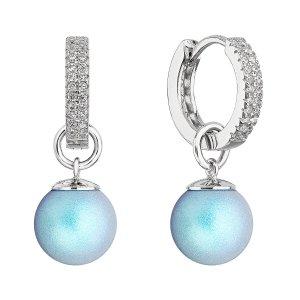 Stříbrné visací náušnice kroužky se světle modrou perlou 31298.3 31298.3