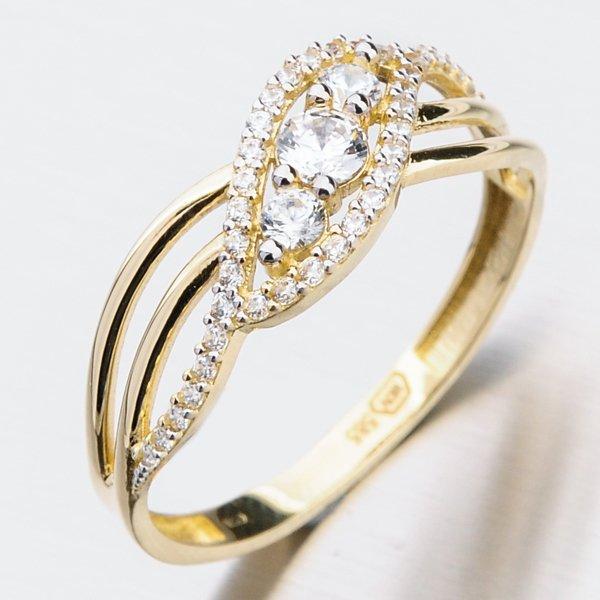 Zlatý prsten se zirkony PKL 11-024