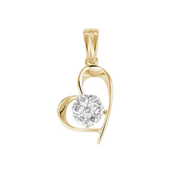 Zlaté srdce s diamanty - přívěsek GKW43761