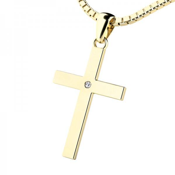 Zlatý kříž s diamantem 10947-ZL-DIA