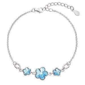 Stříbrný náramek se Swarovski krystaly modrá kytička 33112.3 33112.3