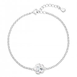 Stříbrný náramek se Swarovski krystaly bílá kytička 33117.1 33117.1