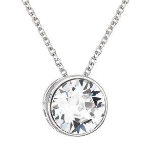 Stříbrný náhrdelník s krystalem Swarovski bílý kulatý 32069.1 32069.1